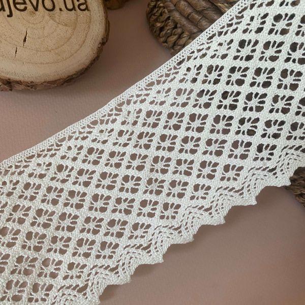Кружево тёплый Белый льняное 8 см (кр0226а)