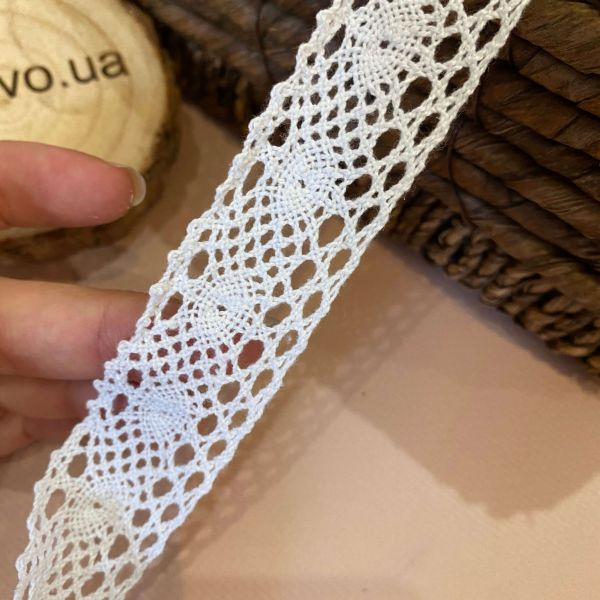 """Кружево макраме """"Вязанный хлопок"""" (2,8 см) бел (кр0117)"""