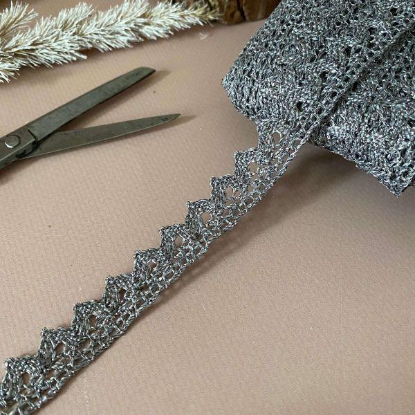 Кружево с люрексом 1,5 см (кр0175) серебро